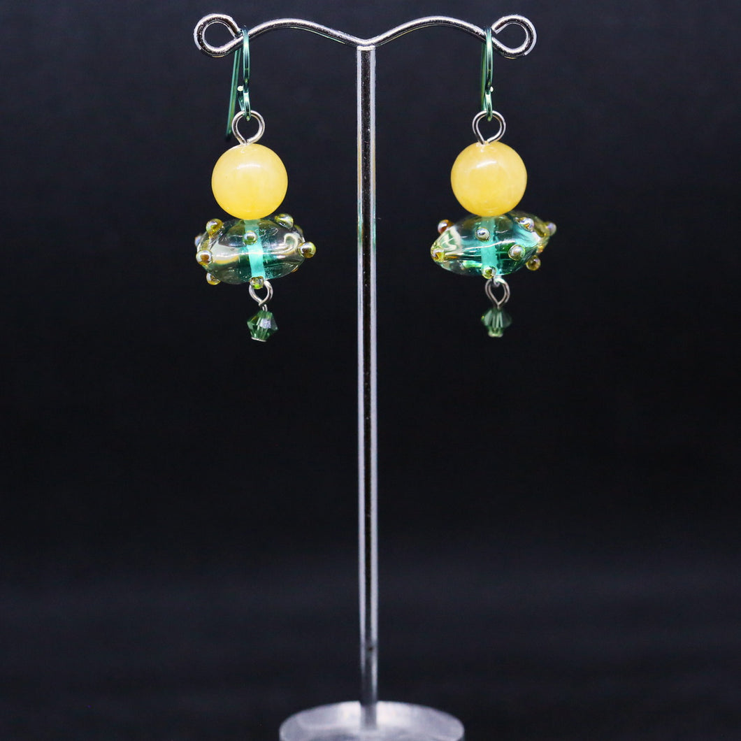 Exquisite Glass Cushion Earrings with Yellow Jade and Green Crystal