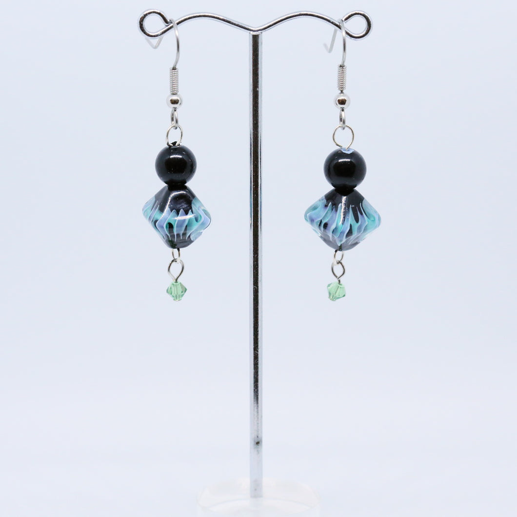 Blue and Mauve Wave Glass Earrings with Blue Goldstone and Faceted Teal Crystals