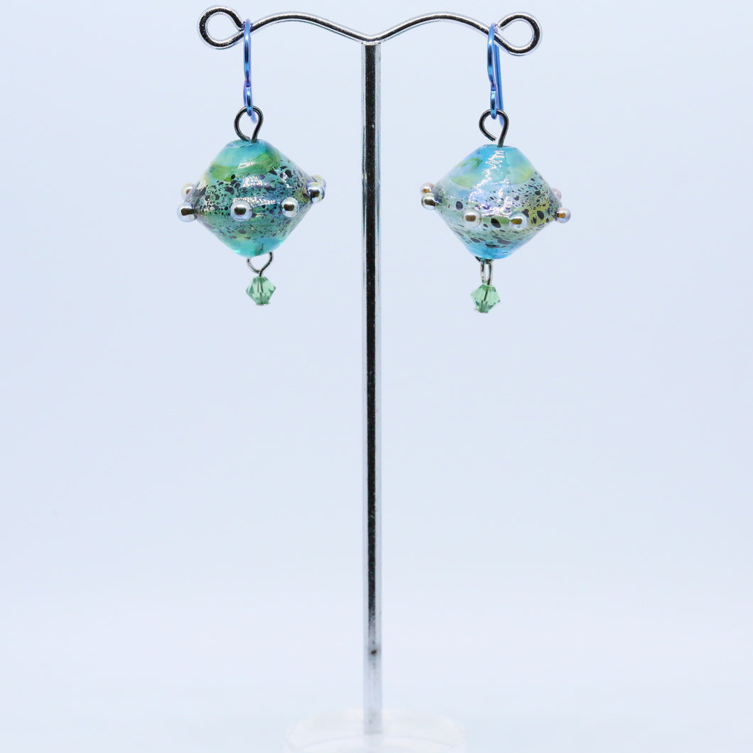 Earrings with Beads By Glass Artist Liz DeLuca