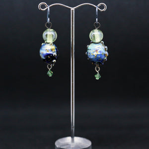 Unique Earrings with Ocean Blue Handmade Glass Beads by Liz Deluca