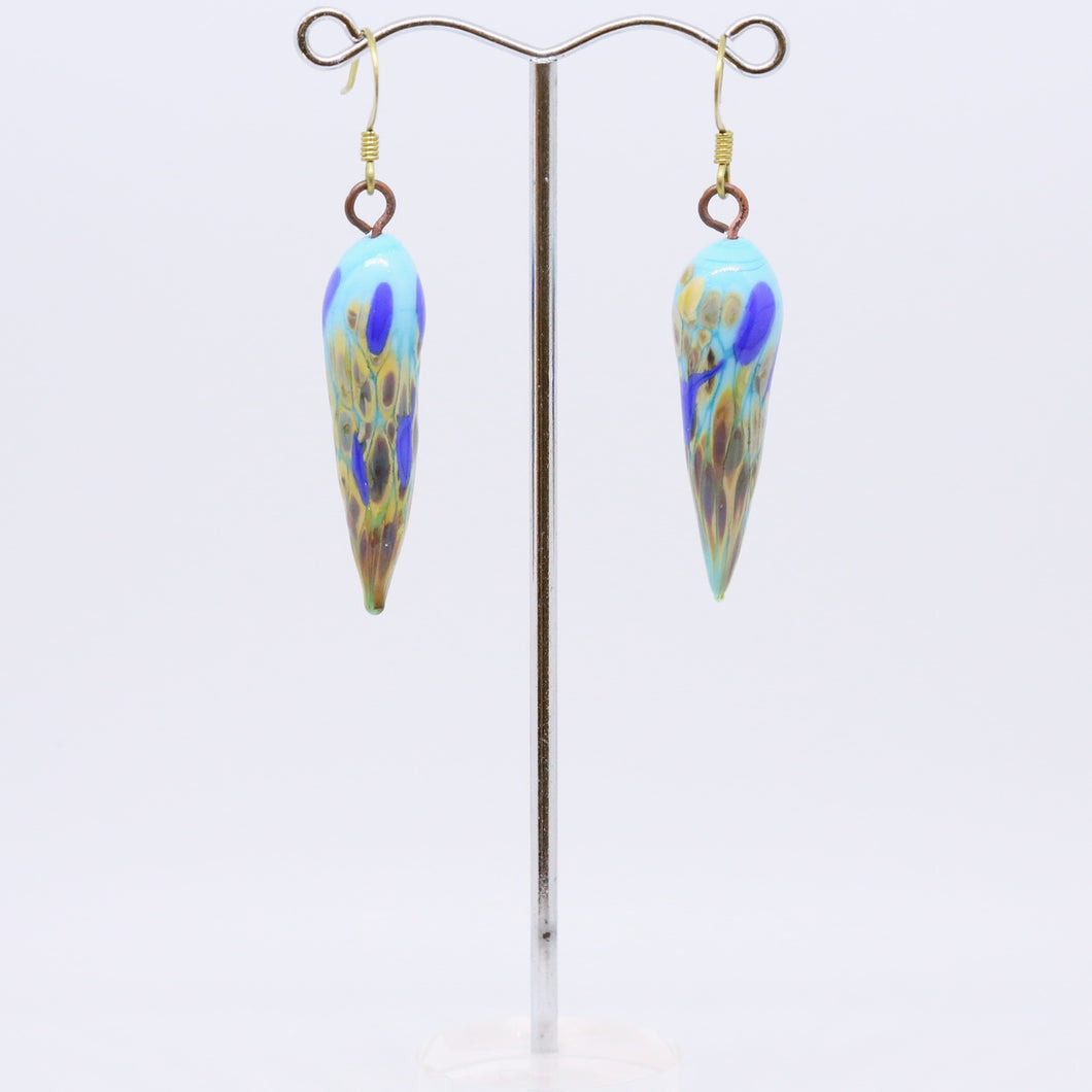 Stunning Blue Earrings with Beautiful Glass Beads by Pauline Delaney