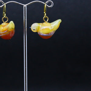 Quirky Earrings with Handmade Glass Bird Beads by Jan Cahill