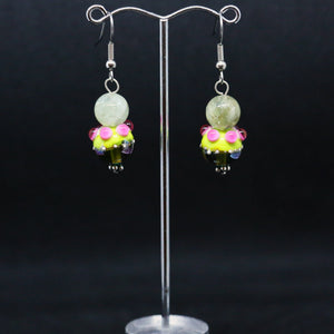 Exotic Pink and Green Bead Earrings By Australian Artist