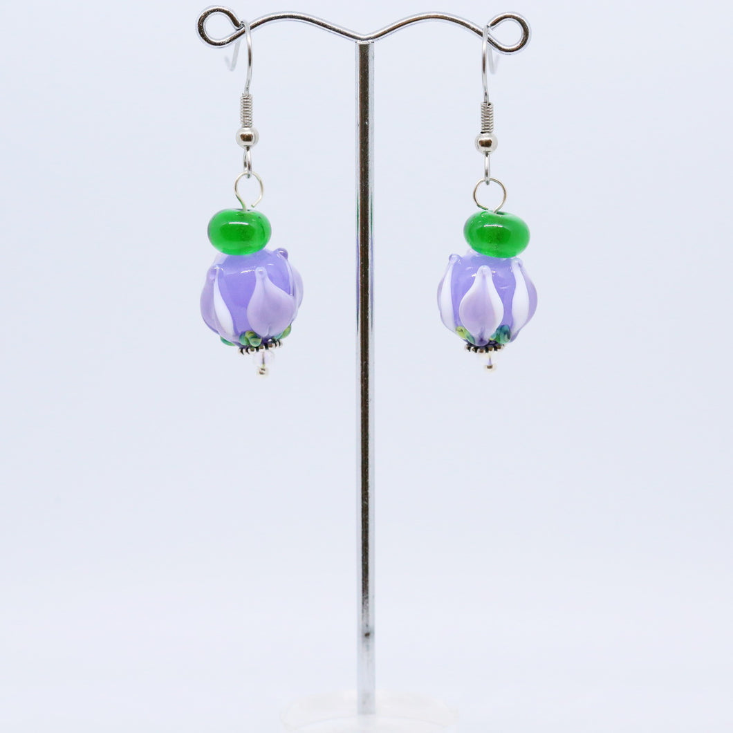 Exquisite Earrings with Lilac Glass Tulip Beads by Jan Cahill