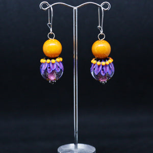 Striking Orange and Purple Earrings with Glass Beads by Regis Teixera