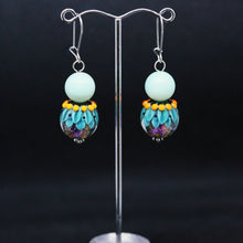 Load image into Gallery viewer, Striking Blue and Orange Earrings with Glass Beads by Regis Teixera