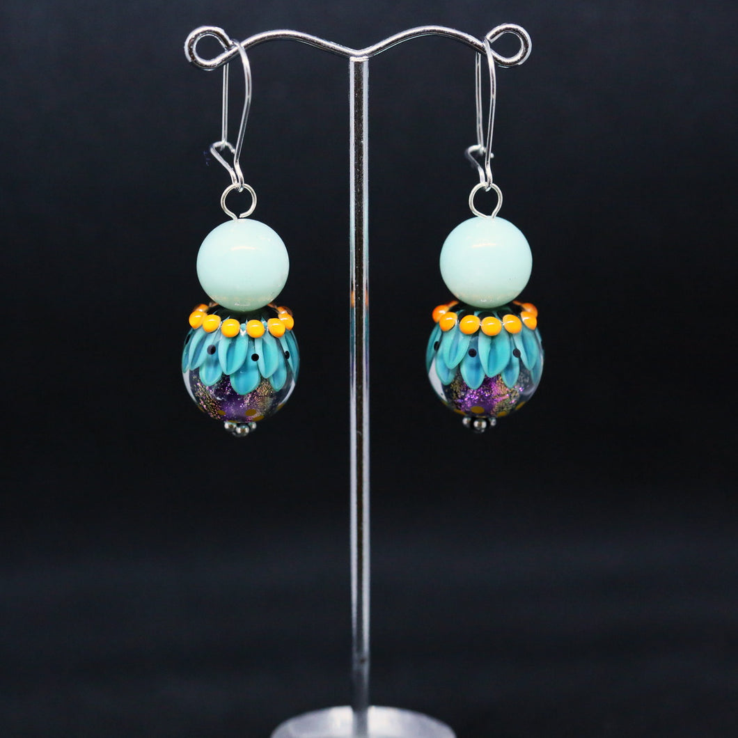 Striking Blue and Orange Earrings with Glass Beads by Regis Teixera