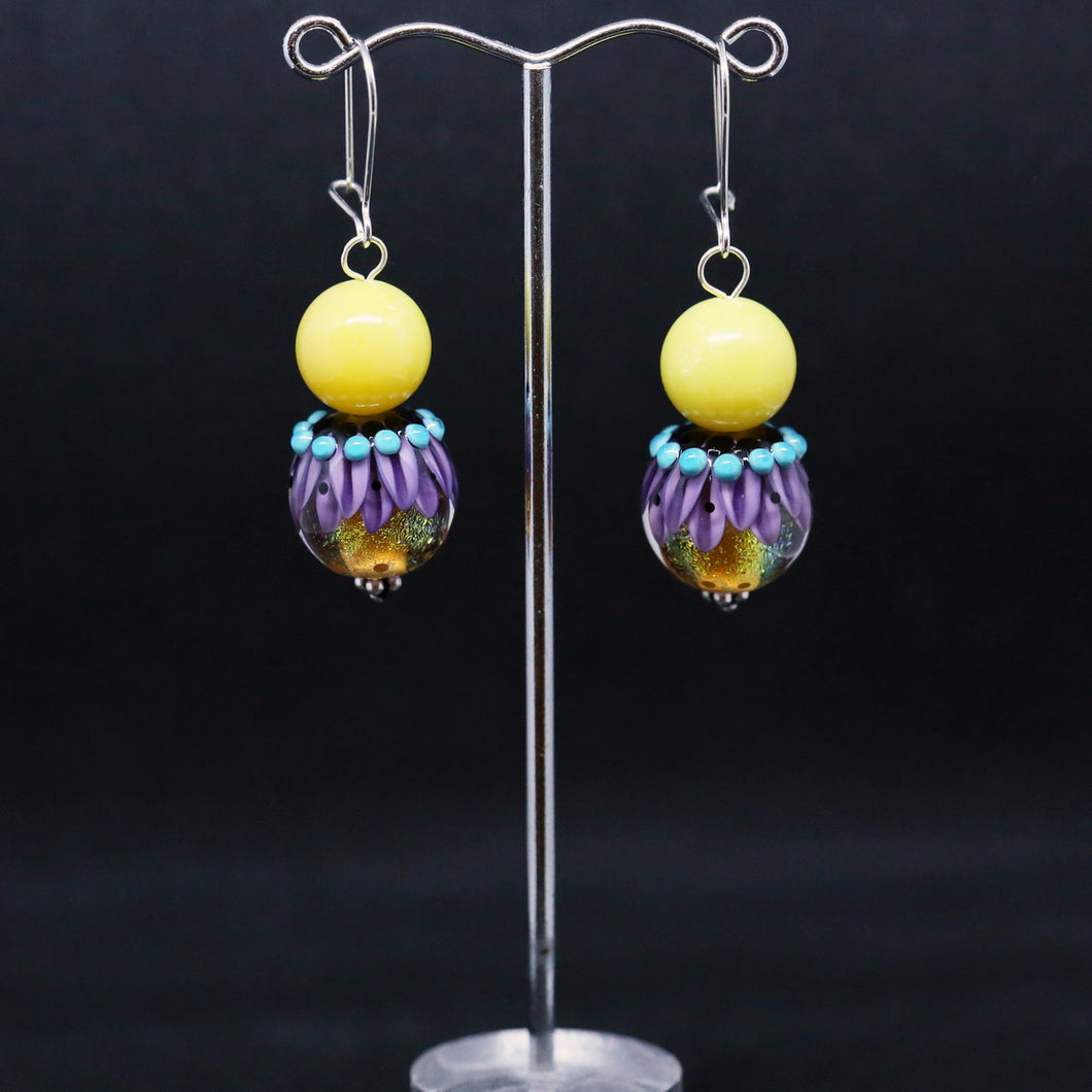 Striking Yellow, Purple and Blue Earrings with Glass Beads by Regis Teixera