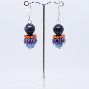 Striking Purple, Blue and Orange Earrings with Glass Beads by Regis Teixera