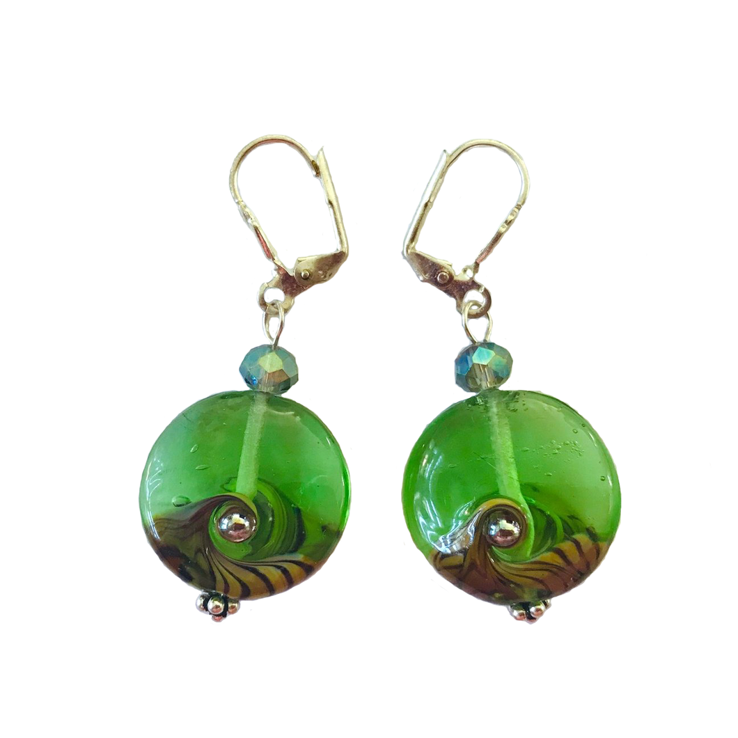 Sea Green Earrings with Glass Beads by Liz Deluca