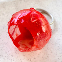 Load image into Gallery viewer, Quirky Red Silicon and Moonstone Ring by Shan Shan Mok