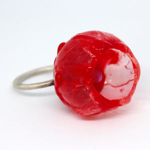 Quirky Red Silicon and Moonstone Ring by Shan Shan Mok