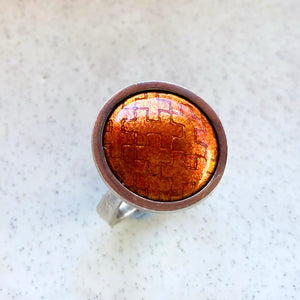 Glowing Orange Enamel Ring by Barbara Ryman
