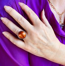 Load image into Gallery viewer, Glowing Orange Enamel Ring by Barbara Ryman