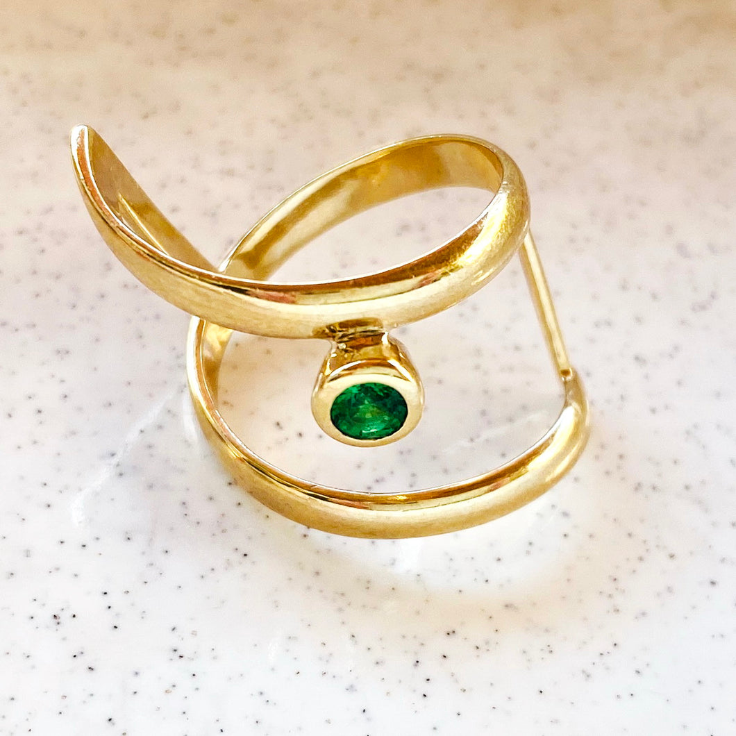 Gold and Green Gemstone Ring by Kristina Karter
