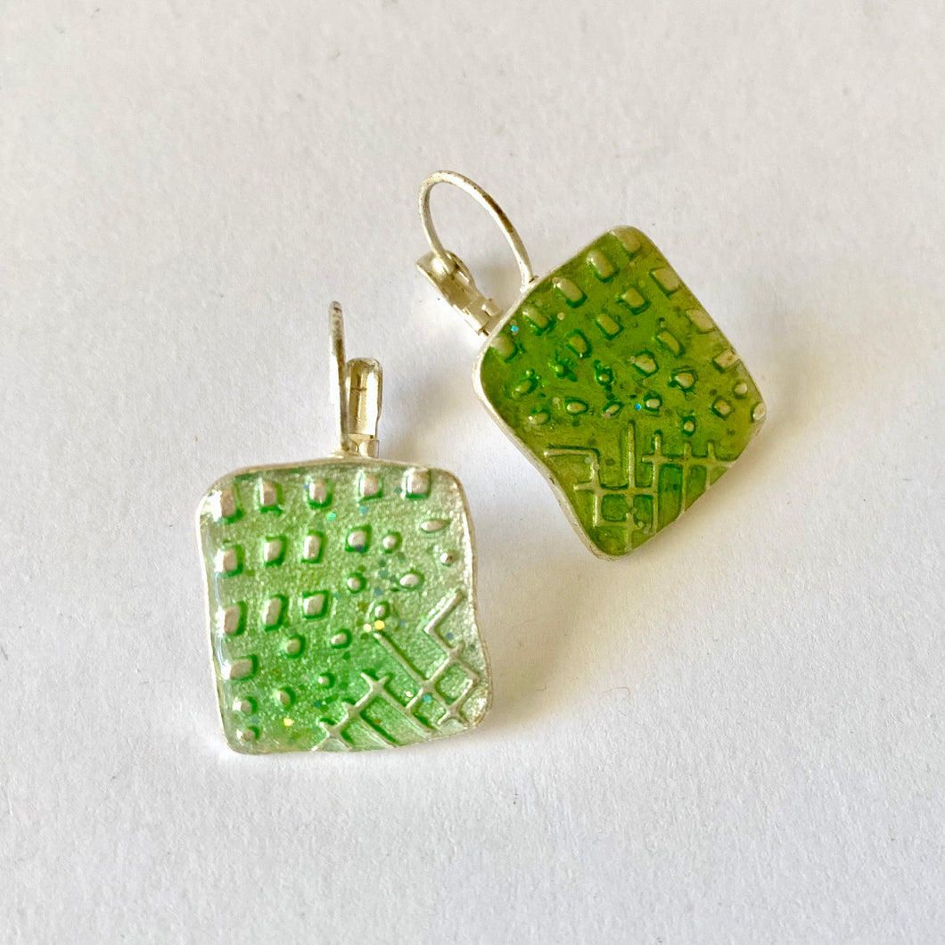 Square Green Resin and Aluminium Earrings