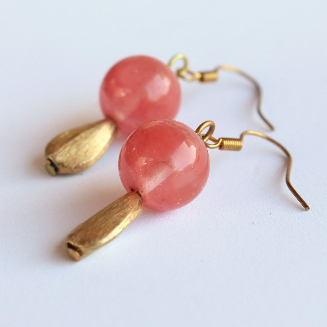 Cherry Quartz and Gold Plated Earrings. SOLD