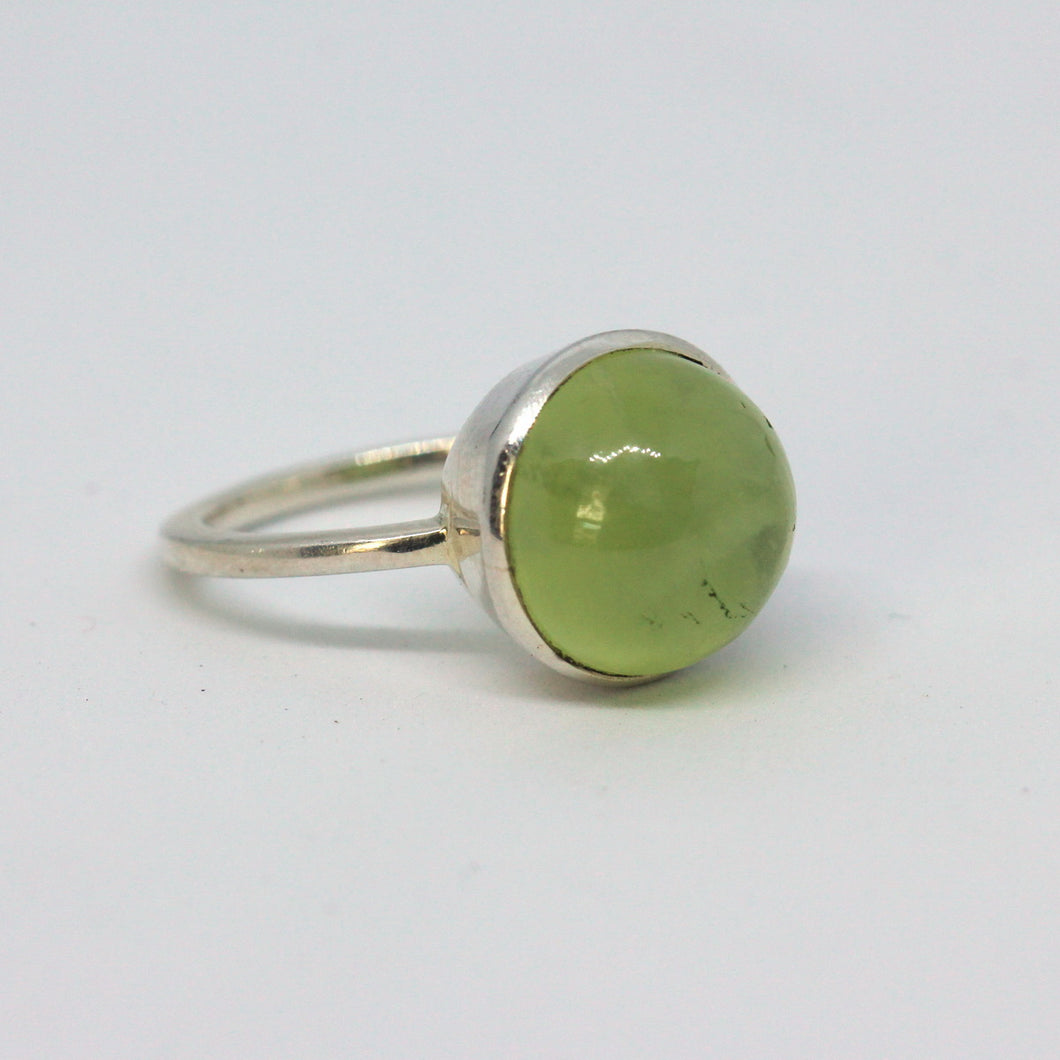 Prehnite Gemstone and Sterling Silver Ring
