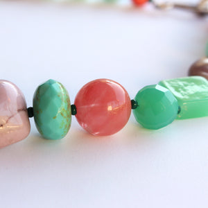 Jade, Glass, Strawberry Quartz, Resin and Carved Gemstone Necklace