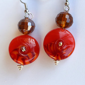 Unique Earrings with Deep Orange Glass Beads by Liz Deluca