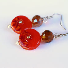 Load image into Gallery viewer, Unique Earrings with Deep Orange Glass Beads by Liz Deluca