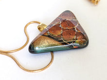 Load image into Gallery viewer, Dichroic Glass Pendant With Gold Chain