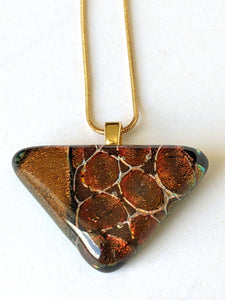 Dichroic Glass Pendant With Gold Chain