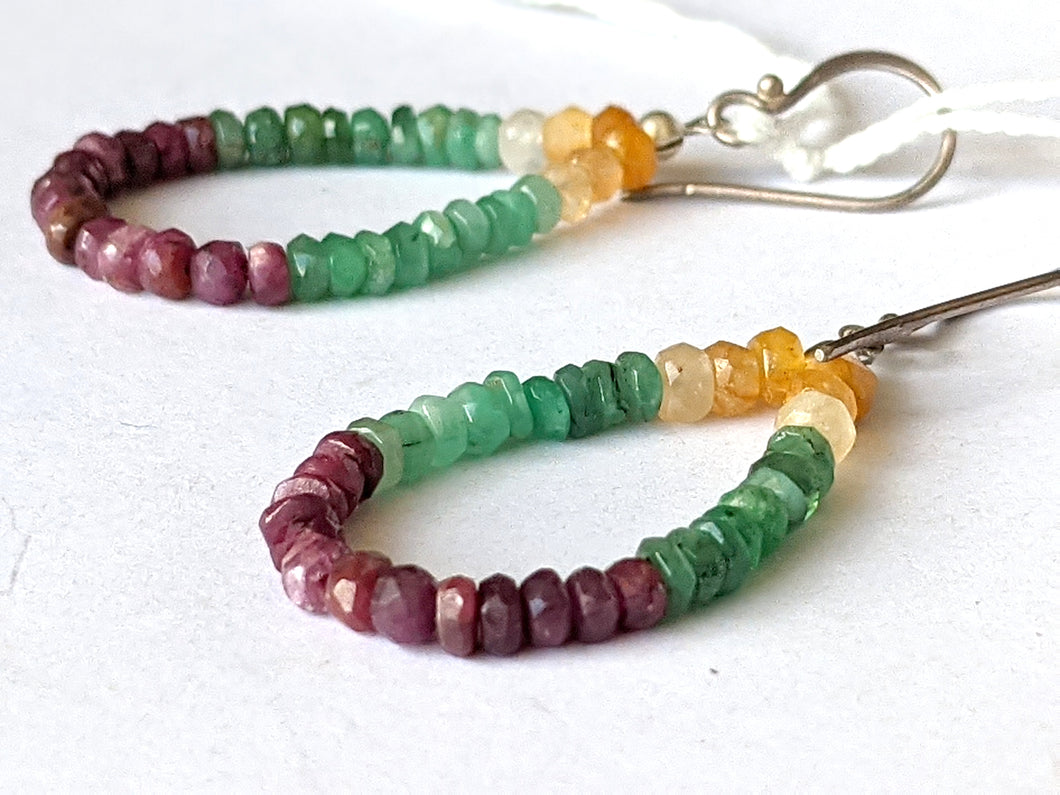 Ruby, Citrine and Emerald Gemstone Bead Earrings by Christine Smalley