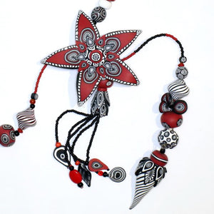 Polymer Clay 'Starburst' Necklace by Australian Artist Wendy Moore