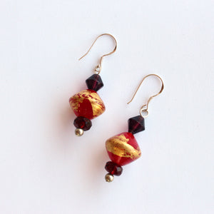 Luscious Australian Red and Gold Glass Bead Earrings
