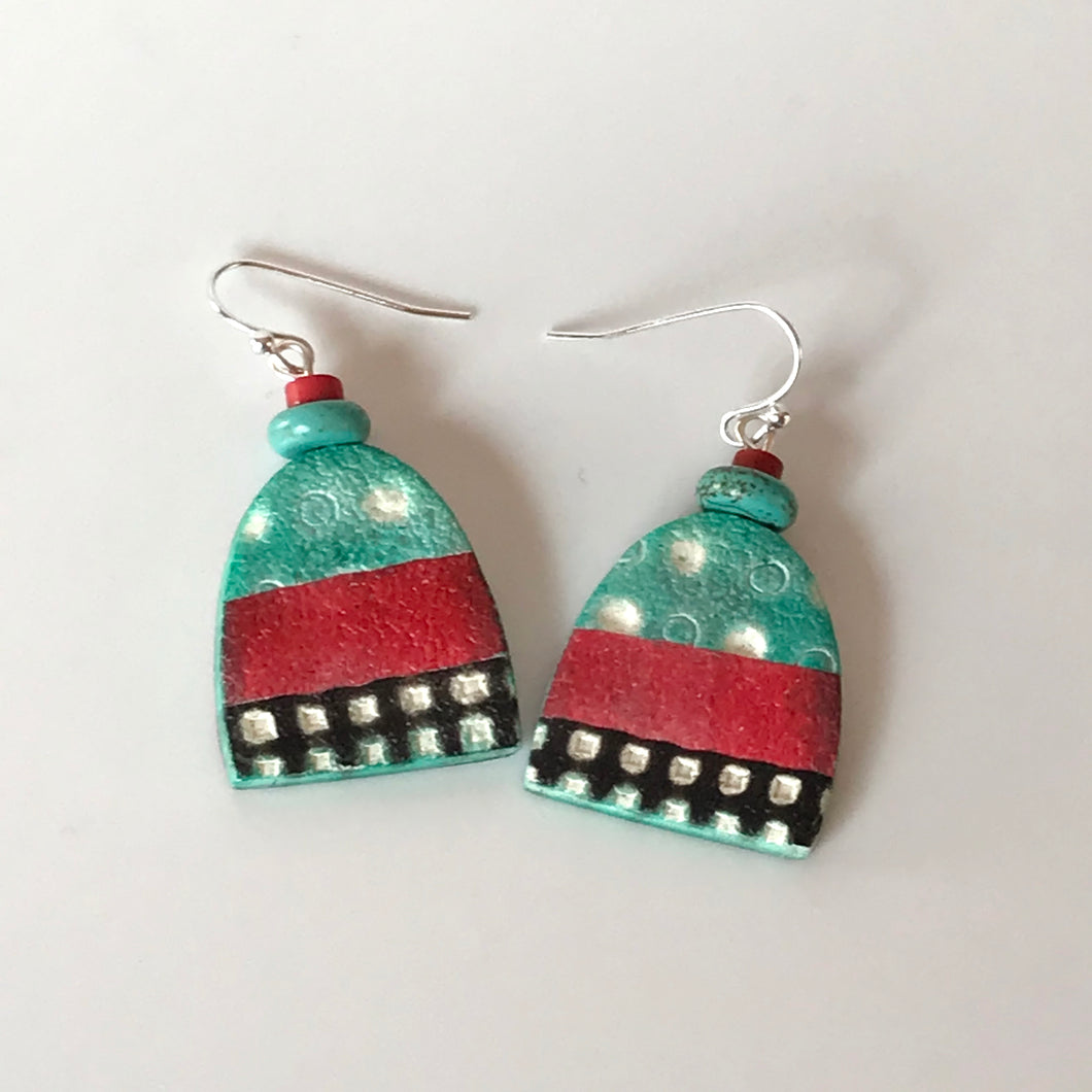 Coral and Turquoise Polymer Clay Drop Earrings by Wendy Moore