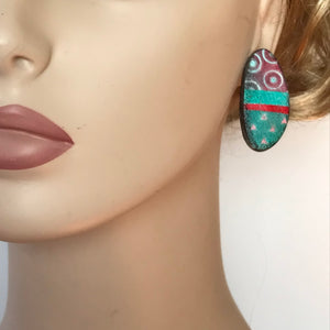 Coral and Turquoise Polymer Clay Studs by Wendy Moore