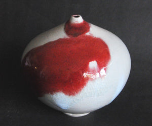 Vessel - tear drop - copper red on chun