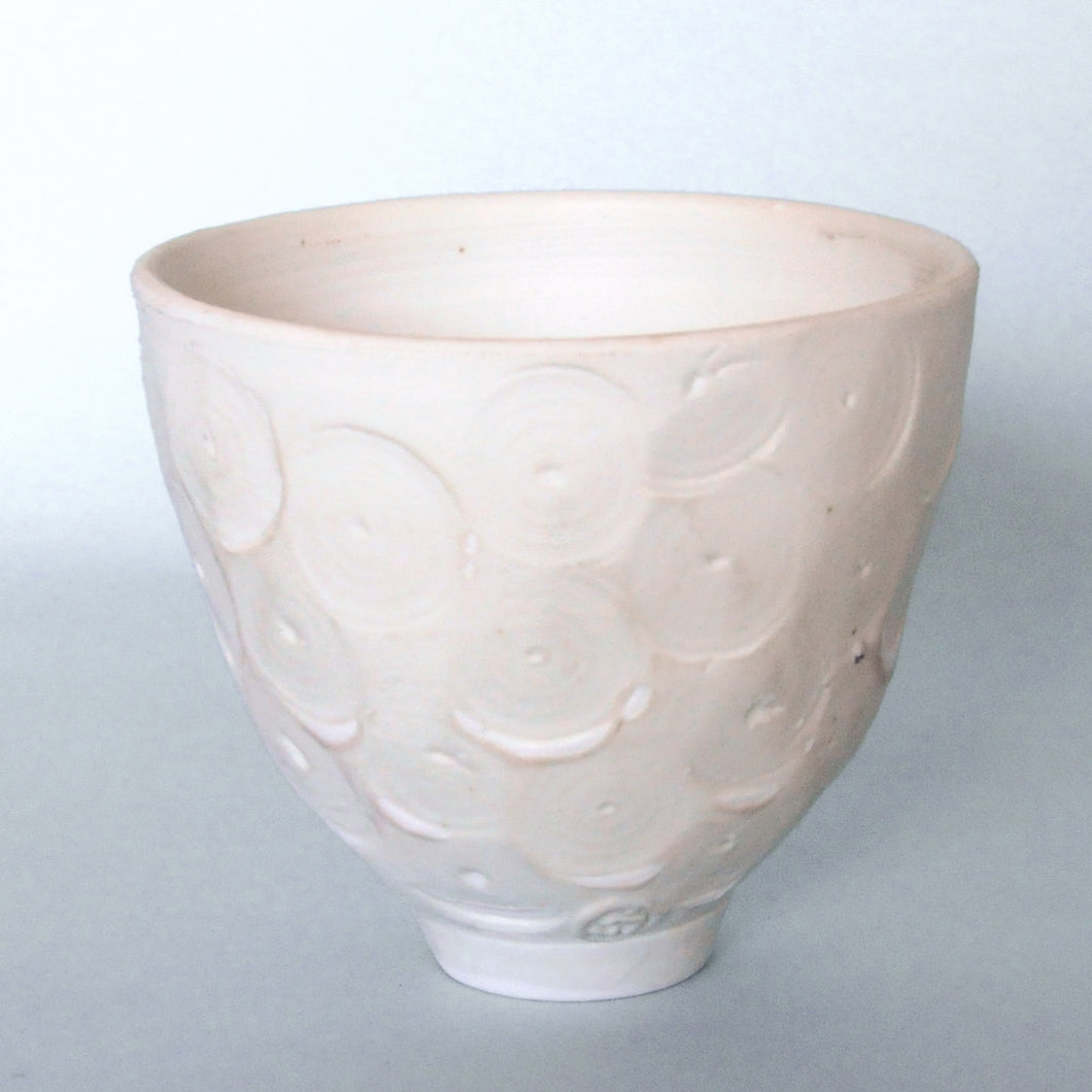 Bowl - matt white, circle decor