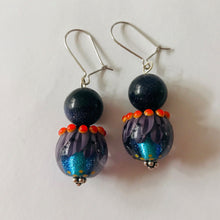 Load image into Gallery viewer, Striking Purple, Blue and Orange Earrings with Glass Beads by Regis Teixera