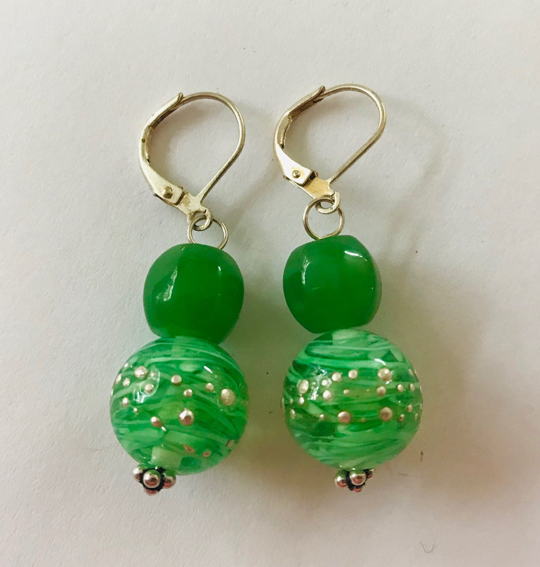 Unique Green Glass Earrings by Christine Smalley
