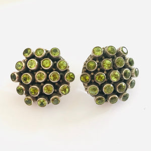 Vintage Peridot and Stirling Silver Stud Earrings