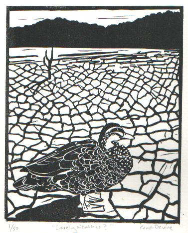 'Lovely Weather?' - Traditional Artist's Hand Pulled Print by Mellissa Read-Devine