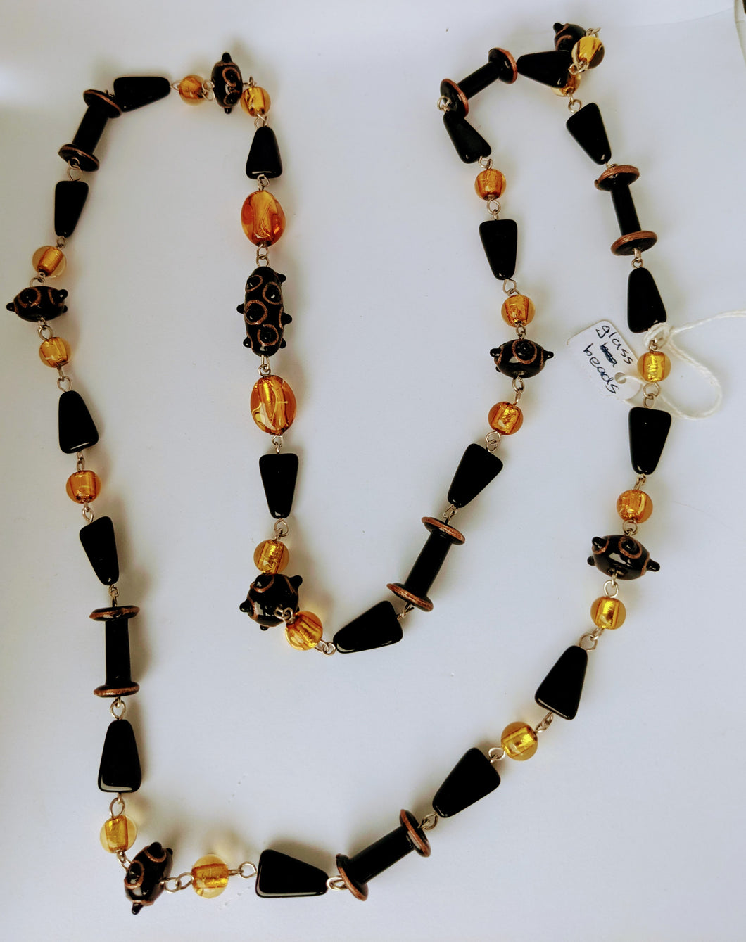 Black and Amber Coloured Murano Glass Beaded Necklace by Chris Smalley