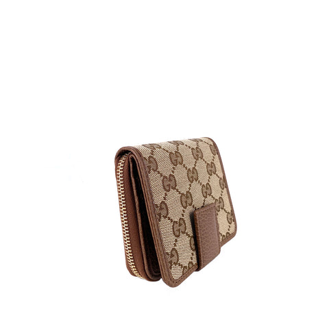 Gucci Gg Original Beige Logo Canvas With Brown Leather Flap Zip Around Wallet