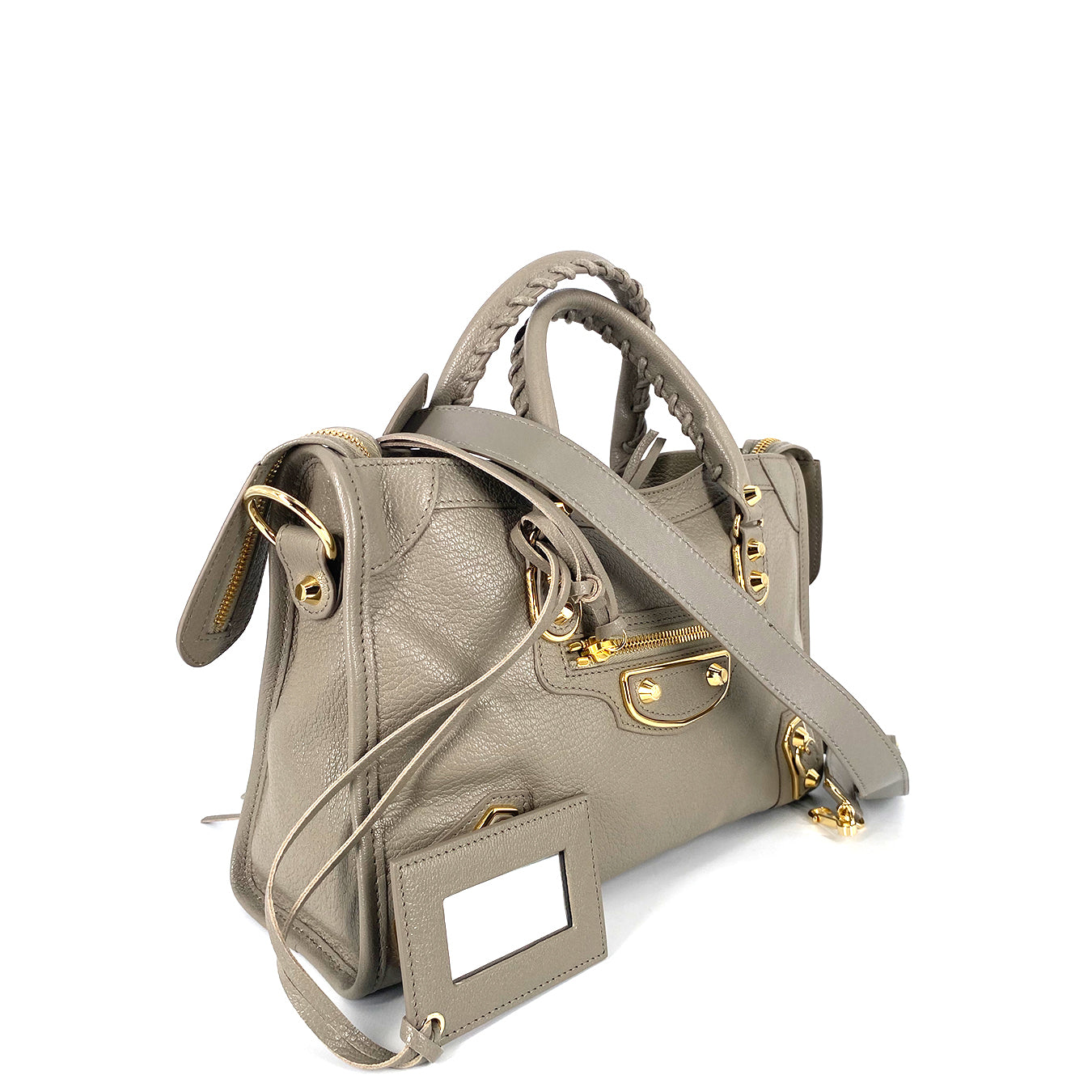 Balenciaga Classic Gold Metallic Edge City Small Light Grey