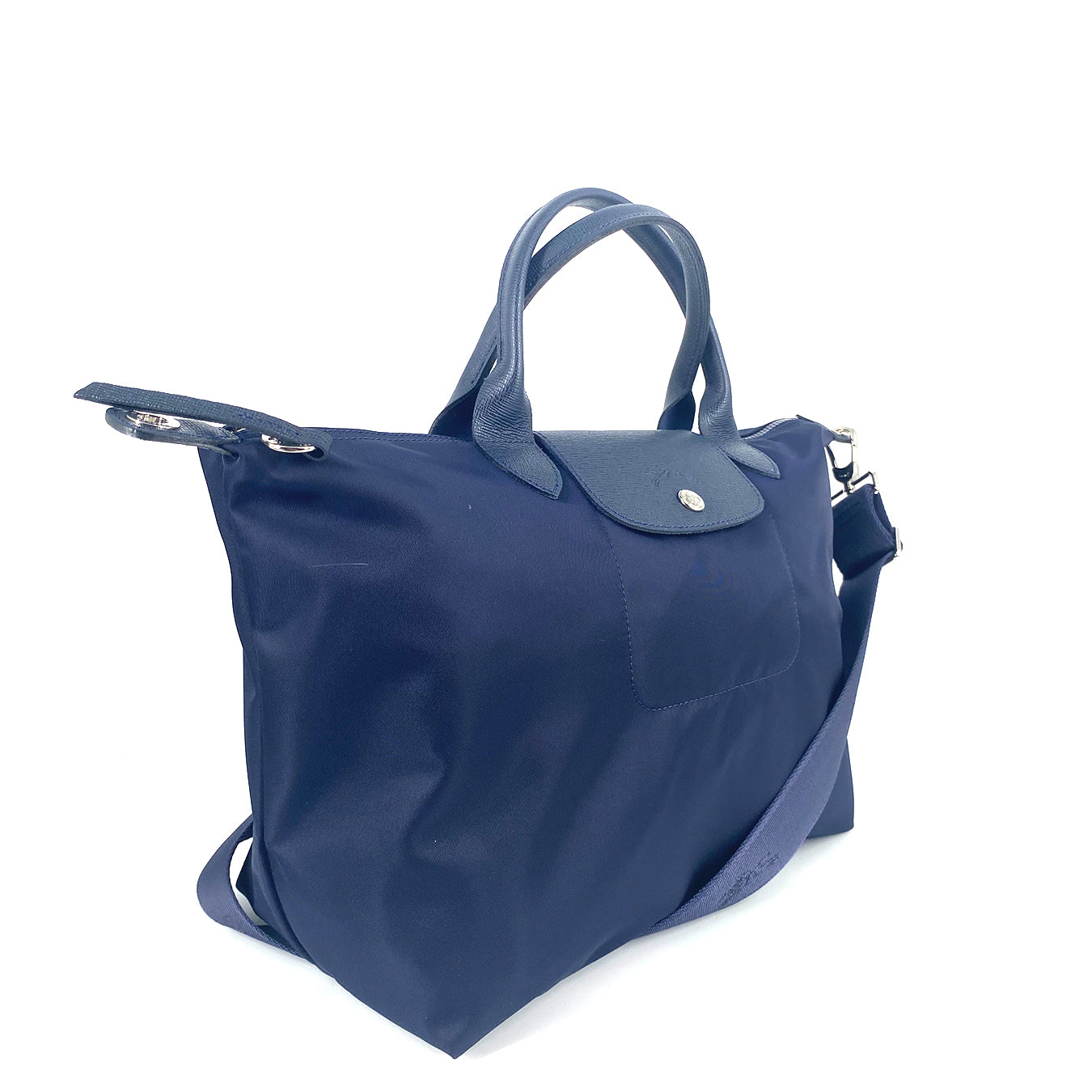 Longchamp Le Pliage Neo Medium Top Handle SH Navy With Strap Adjustable