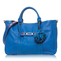 Longchamp 3D Massai Large Leather Satchel Blue