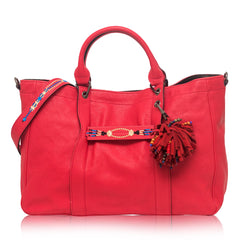 Longchamp 3D Massai Large Leather Satchel Red