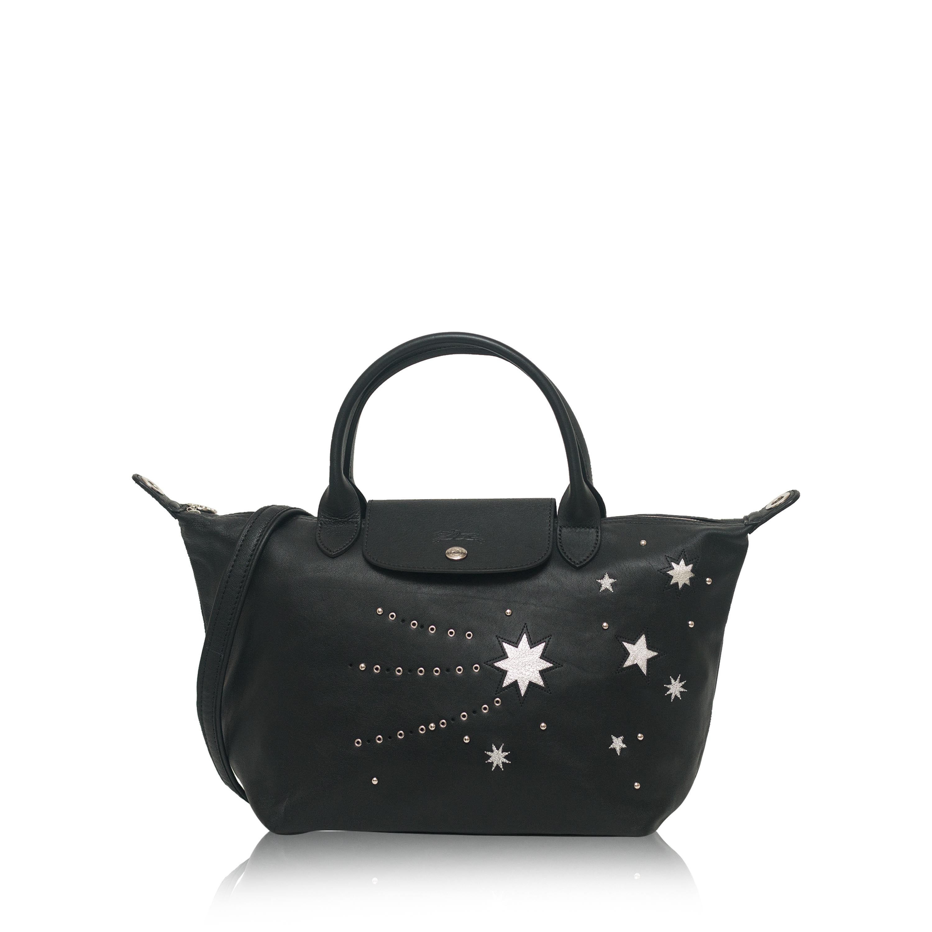 Longchamp Le Pliage Cuir Etoile Star Small Satchel Leather Black