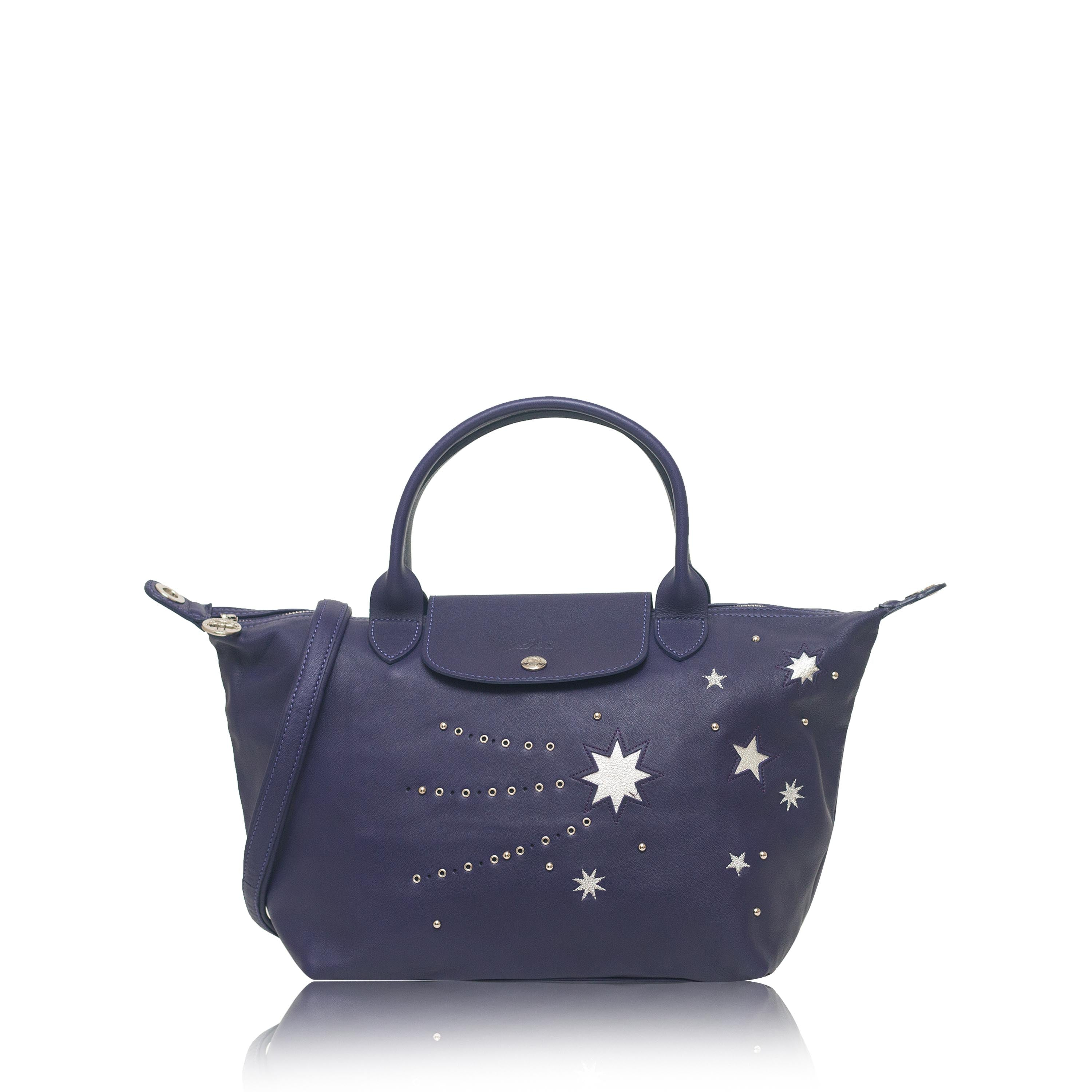 Longchamp Le Pliage Cuir Etoile Star Small Satchel Leather Blu
