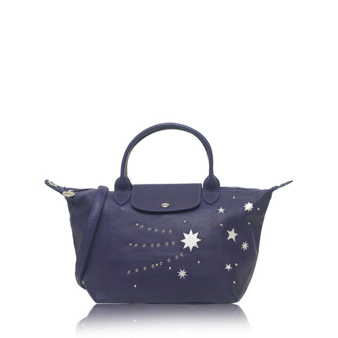 Le Pliage Cuir Etoile Star Small Satchel Leather Blu