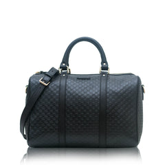 Gucci Microguccissima Boston with Strap Satchel Black