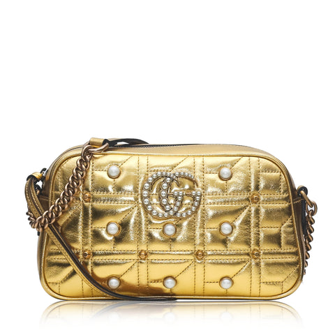 Gucci GG Mermont Quilted Pearls Crossbody in Shining Gold
