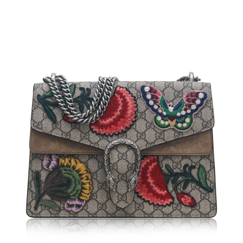 Gucci GG Supreme Floral and Butterfly Embroidered Canvas